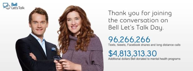 Bell Let's Talk Day 2013 Results http://letstalk.bell.ca/en/